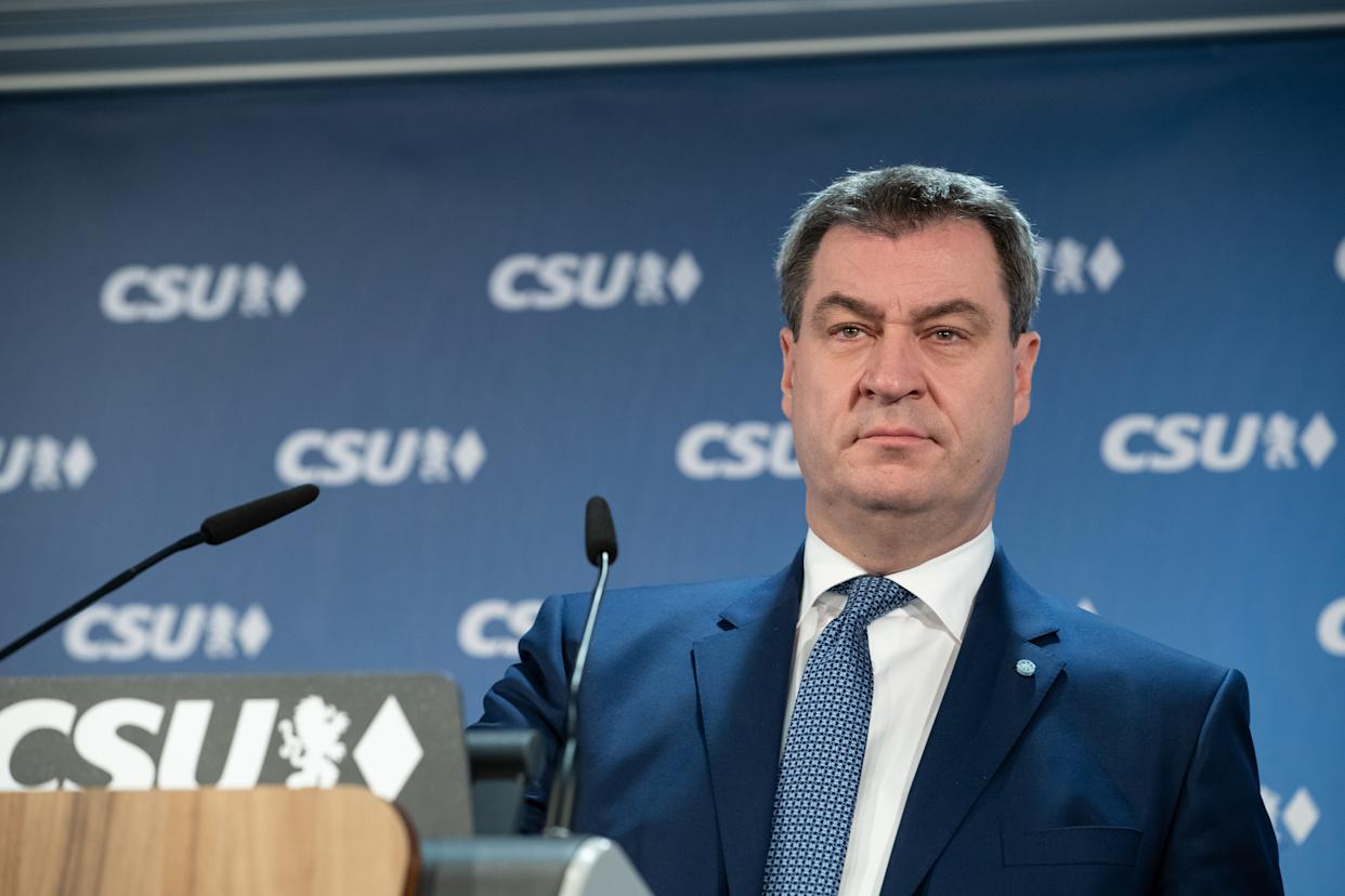 Markus Söder (CSU), Prime Minister of Bavaria, will speak at a press conference at the CSU headquarters after the meeting of the CSU executive board. The secretary general of the CSU Markus Blume and the designated CSU chairman Markus Soeder spoke at a press conference after a board meeting of the CSU. (Photo by Alexander Pohl/NurPhoto via Getty Images)