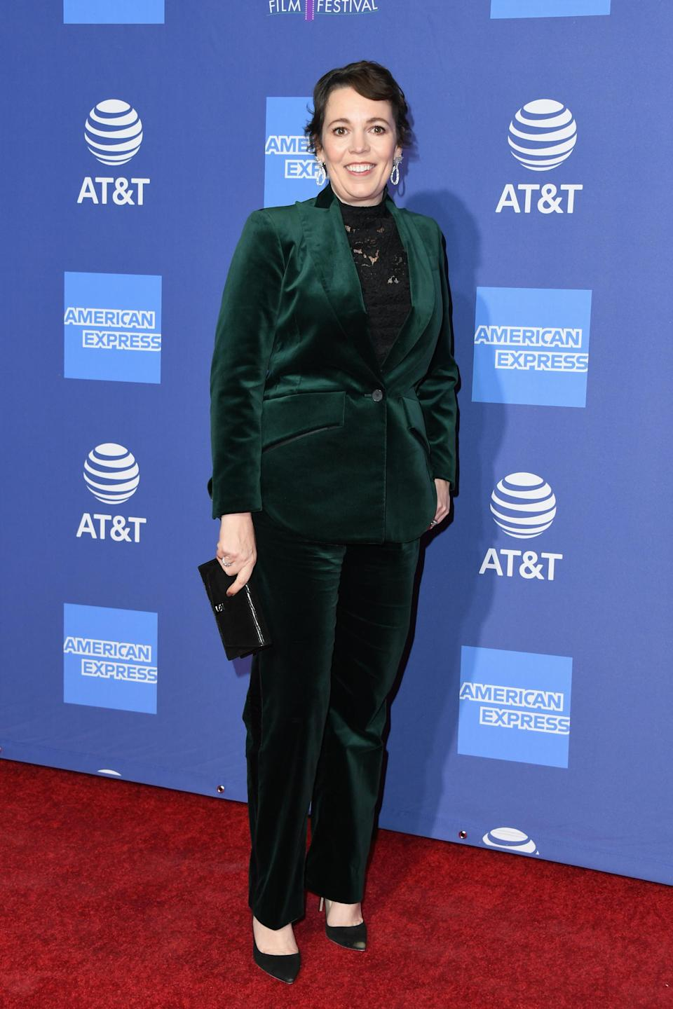 <p>Actress Olivia Colman is expected to win big this awards season and what better way to steal our attention than with a velvet co-ord? It seems our festive wardrobe may still come in handy after all… <em>[Photo: Getty]</em> </p>