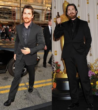 """t's hard to believe that the same guy who looked so buff in """"American Psycho"""" and """"Batman Begins"""" got so scrawny to play Dicky Eklund in """"The Fighter."""" By the time Bale won his Oscar for the role, he was back to a healthier weight. Photo by: Lester Cohen/WireImage, Jeffrey Mayer/WireImage"""