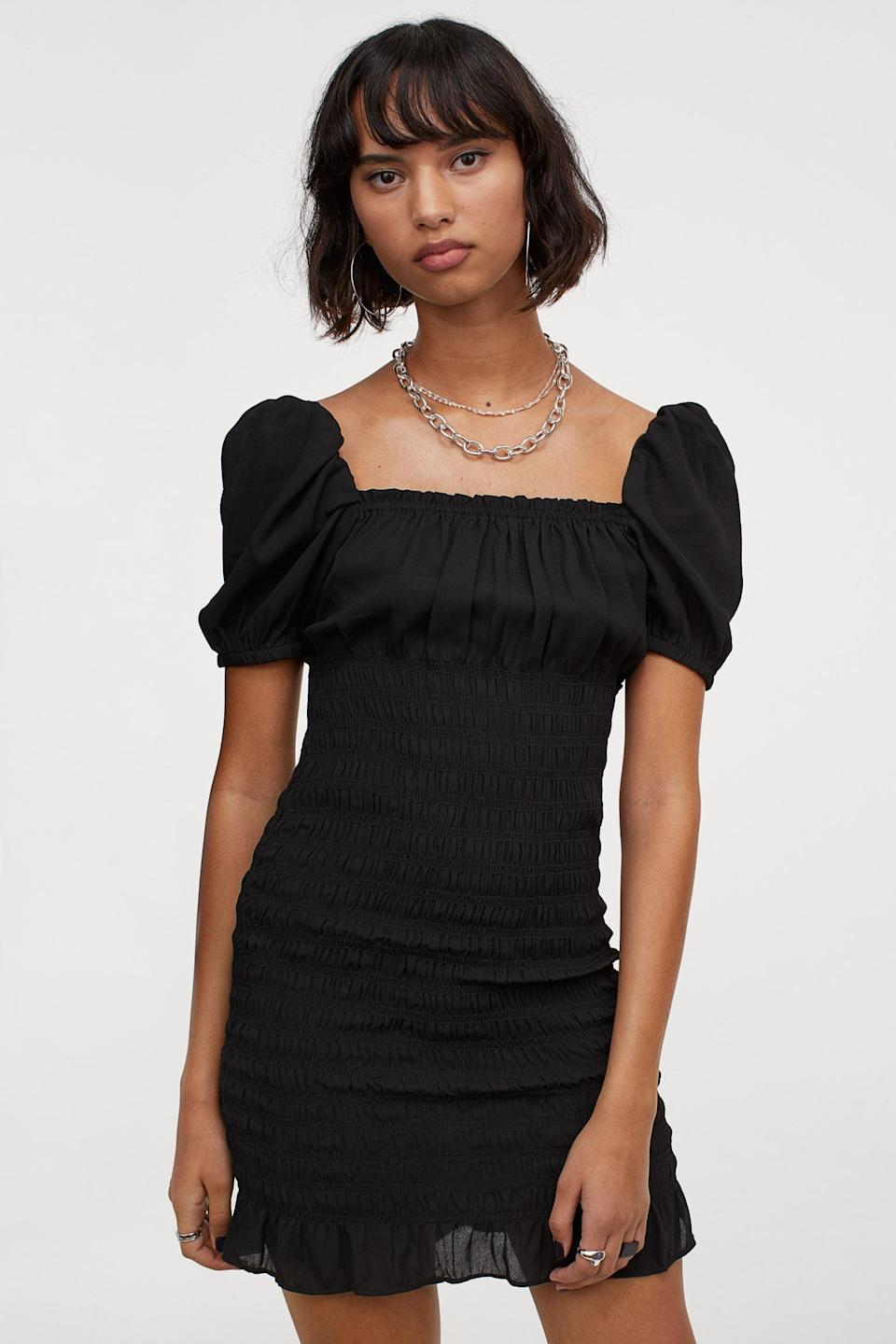 <p>Style this <span>H&amp;M Smocked Dress</span> ($13, originally $25) with chunky boots or chic mules.</p>
