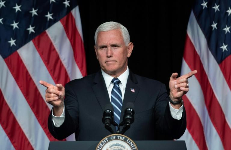 US Vice President Mike Pence speaks about the creation of the Space Force at the Pentagon in Washington, DC, on August 9, 2018