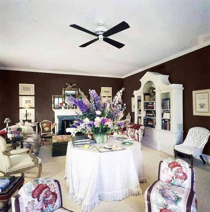 """<p>Though he worked for David Hicks, Parish-Hadley, and McMillen (all brown room enthusiasts) before opening his firm, decorator Mark Hampton considered Baldwin a great influence. His Southampton, Long Island, living room reflected a shared affinity for glossy brown walls.</p><p><a class=""""link rapid-noclick-resp"""" href=""""https://www.benjaminmoore.com/en-us/color-overview/find-your-color/color/2112-10/mink?color=2112-10"""" rel=""""nofollow noopener"""" target=""""_blank"""" data-ylk=""""slk:Get the Look"""">Get the Look</a></p>"""