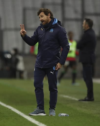 Marseille's head coach Andre Villas-Boas reacts during the French League One soccer match between Marseille and Lens at the Veledrome stadium in Marseille, France, Wednesday, Jan. 20, 2021. (AP Photo/Daniel Cole)