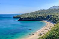 <p>Praia Dos Galapinhos is an idyllic beach set at the base of steep forested limestone hills, perfect for swimming, sunbathing and chilling. </p>