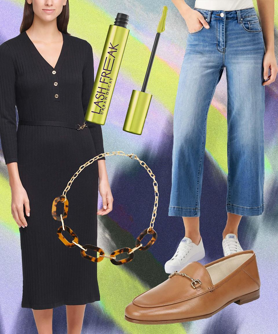 """Denim <em>and </em>a dress? """"Whoa, slow down there,"""" you say. But we believe in you and your ability to reintroduce both to your wardrobe in one go. Treat the sweater dress as a long top over a pair of cropped, wide-leg jean. To finish, just add a horse-bit loafer, a swipe of mascara, and gold collar necklace. <br><br><strong>Calvin Klein</strong> Button-Front Sweater Dress, $, available at <a href=""""https://go.skimresources.com/?id=30283X879131&url=https%3A%2F%2Fwww.macys.com%2Fshop%2Fproduct%2Fcalvin-klein-button-front-sweater-dress%3FID%3D11376996%26CategoryID%3D5449"""" rel=""""nofollow noopener"""" target=""""_blank"""" data-ylk=""""slk:Macy's"""" class=""""link rapid-noclick-resp"""">Macy's</a><br><br><strong>Numero</strong> Cropped Wide-Leg Jeans, $, available at <a href=""""https://go.skimresources.com/?id=30283X879131&url=https%3A%2F%2Fwww.macys.com%2Fshop%2Fproduct%2Fnumero-cropped-wide-leg-jeans%3FID%3D10638086%26CategoryID%3D3111"""" rel=""""nofollow noopener"""" target=""""_blank"""" data-ylk=""""slk:Macy's"""" class=""""link rapid-noclick-resp"""">Macy's</a><br><br><strong>Sam Edelman</strong> Loraine Bit Loafers, $, available at <a href=""""https://go.skimresources.com/?id=30283X879131&url=https%3A%2F%2Fwww.macys.com%2Fshop%2Fproduct%2Fsam-edelman-womens-loraine-bit-loafers%3FID%3D10365657%26CategoryID%3D16108%26swatchColor%3DSaddle%2520Leather"""" rel=""""nofollow noopener"""" target=""""_blank"""" data-ylk=""""slk:Macy's"""" class=""""link rapid-noclick-resp"""">Macy's</a><br><br><strong>Zenzii</strong> Gold-Tone Tortoise-Look Link Collar Necklace, $, available at <a href=""""https://go.skimresources.com/?id=30283X879131&url=https%3A%2F%2Fwww.macys.com%2Fshop%2Fproduct%2Fzenzii-gold-tone-tortoise-look-link-collar-necklace-17-1-2-3-extender%3FID%3D9540867%26CategoryID%3D78234%26swatchColor%3DBlack%252FBrown"""" rel=""""nofollow noopener"""" target=""""_blank"""" data-ylk=""""slk:Macy's"""" class=""""link rapid-noclick-resp"""">Macy's</a><br><br><strong>Urban Decay</strong> Lash Freak Mascara, $, available at <a href=""""https://go.skimresources.com/?id=30283X879131&url"""
