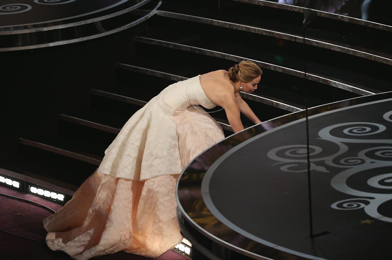 Jennifer Lawrence onstage during the Oscars held at the Dolby Theatre on February 24, 2013 in Hollywood, California.  (Photo by Mark Davis/WireImage)
