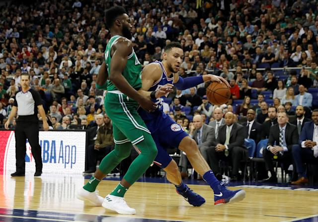 Basketball - NBA - Boston Celtics vs Philadelphia 76ers - O2 Arena, London, Britain - January 11, 2018 Boston Celtics' Jaylen Brown in action with Philadelphia 76ers' Ben Simmons REUTERS/Matthew Childs