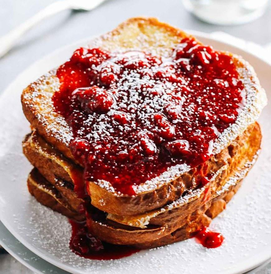 """<p>If you really want to kick up the eggnog flavor, add a splash of rum or bourbon (maybe best to save this tip for the weekend). Get the recipe <a rel=""""nofollow"""" href=""""http://pinchofyum.com/eggnog-french-toast-with-raspberry-sauce?mbid=synd_yahoofood"""">here</a>.</p><p><b>Per one serving:</b> <em>366 calories</em></p>"""