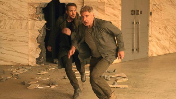 PHOTO: This image released by Warner Bros. Pictures shows Ryan Gosling, left, and Harrison Ford in a scene from 'Blade Runner 2049.' (Stephen Vaughan/Warner Bros. Pictures via AP)