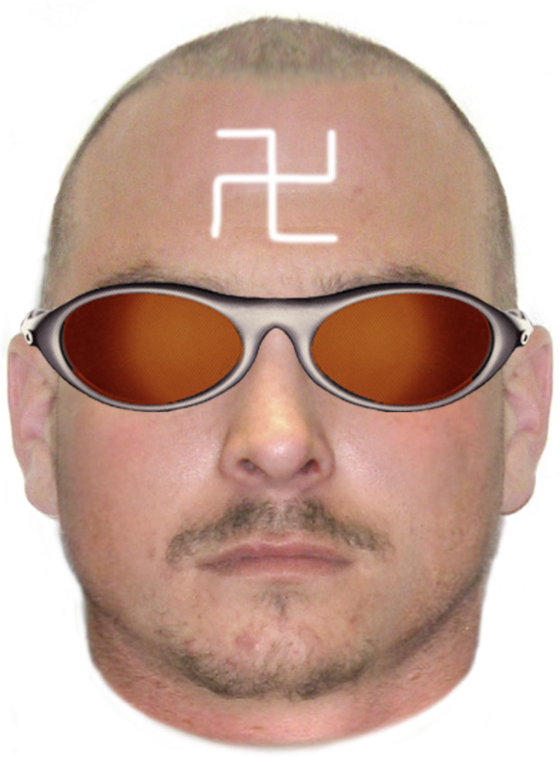A computer-generated image of a man is pictured. He has a swastika painted on his head.
