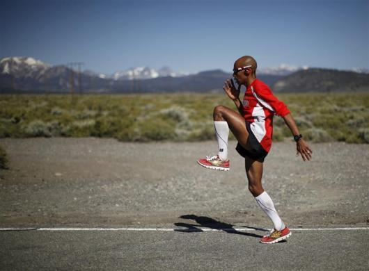 U.S. marathon runner Meb Keflezighi trains for the London 2012 Olympics in Mammoth Lakes, California May 30, 2012. Olympic silver medalist Keflezighi, 37, is the oldest American ever to qualify for the Olympic marathon. He trains at an altitude of around 9,000 feet in Mammoth to increase his red blood cells and boost his endurance.