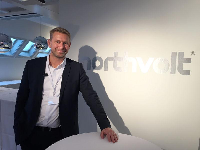 Northvolt CEO Carlsson poses for a picture at the company's offices in Stockholm