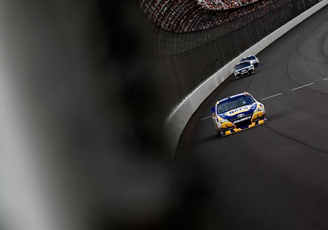 BROOKLYN, MI - JUNE 17: Martin Truex Jr., driver of the #56 NAPA Auto Parts Toyota, races during the NASCAR Sprint Cup Series Quicken Loans 400 at Michigan International Speedway on June 17, 2012 in Brooklyn, Michigan. (Photo by Jeff Zelevansky/Getty Images)