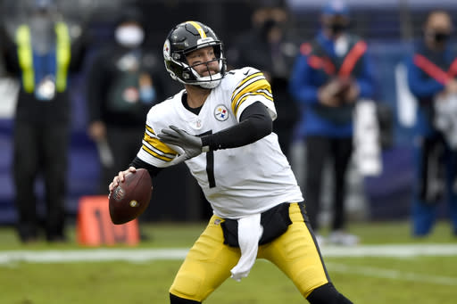 Pittsburgh Steelers quarterback Ben Roethlisberger throws a pass against the Baltimore Ravens during the first half of an NFL football game, Sunday, Nov. 1, 2020, in Baltimore. (AP Photo/Gail Burton)