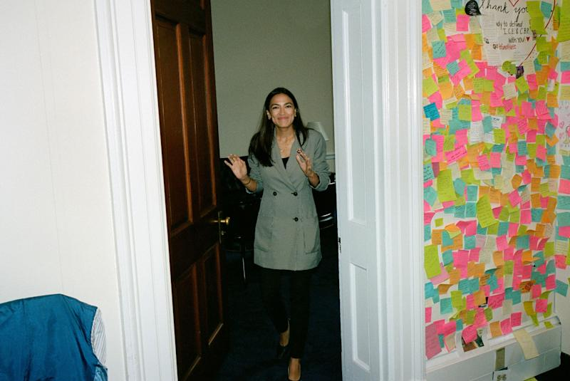 Rep. Alexandria Ocasio-Cortez, 29, exits her office in the Cannon building at the US Capitol. It has been one year since she won her upset Democratic primary over incumbent Joe Crowley, and became a national star.