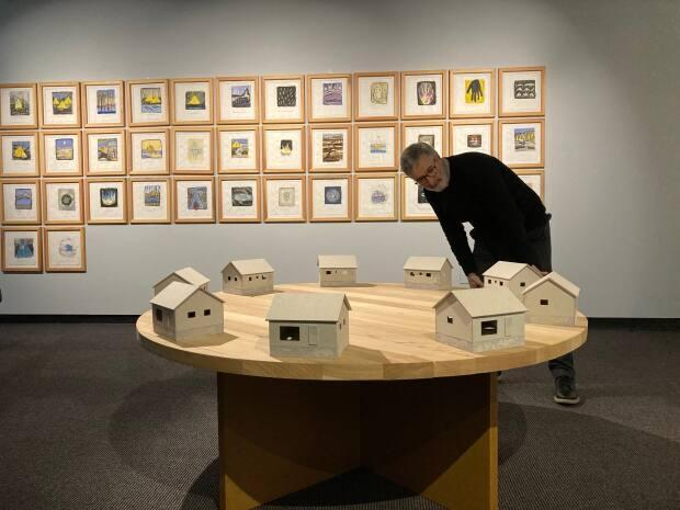 Confederation Centre Art Gallery director Kevin Rice regards The Housing, 2009, millboard, cedar, particleboard, collection of John Cook.