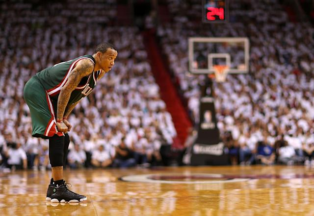 MIAMI, FL - APRIL 21: Monta Ellis #11 of the Milwaukee Bucks looks on during Game 1 of the Eastern Conference Quarterfinals of the 2013 NBA Playoffs against the Miami Heat at American Airlines Arena on April 21, 2013 in Miami, Florida. NOTE TO USER: User expressly acknowledges and agrees that, by downloading and or using this photograph, User is consenting to the terms and conditions of the Getty Images License Agreement. (Photo by Mike Ehrmann/Getty Images)