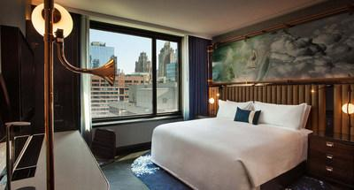 The convergence of art and science through the design as seen in this signature guestroom Hotel EMC2. Photo credit: Michael Kleinberg.