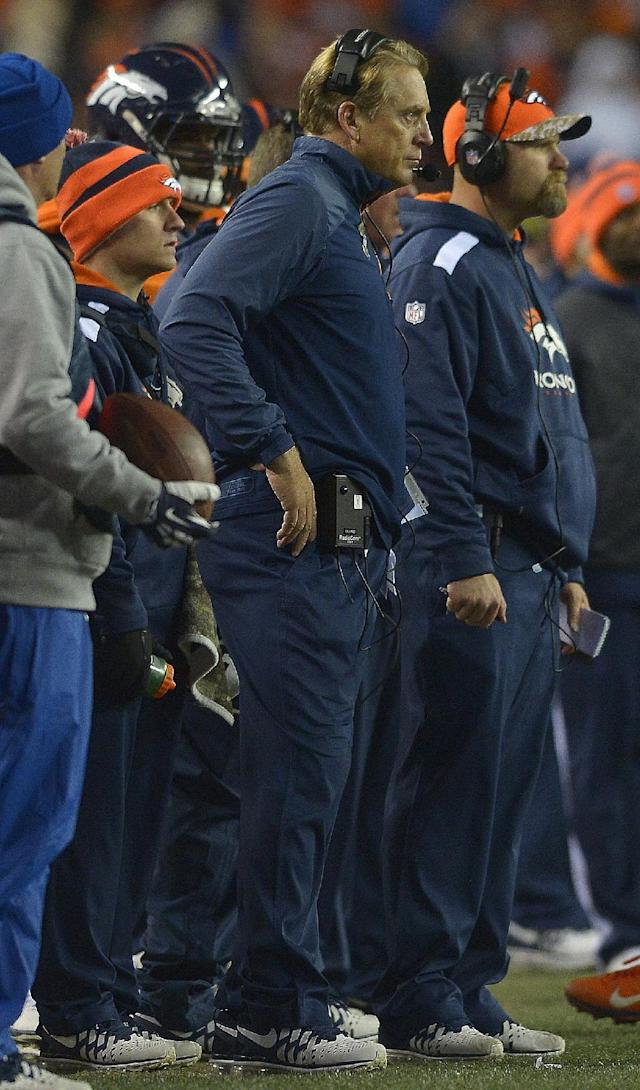 Denver Broncos interim head coach Jack Del Rio watches play from the sidelines against the Kansas City Chiefs in the fourth quarter of an NFL football game, Sunday, Nov. 17, 2013, in Denver. (AP Photo/Jack Dempsey)