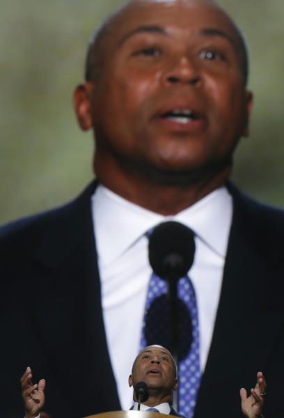 Massachusetts Gov. Deval Patrick addresses the Democratic National Convention in Charlotte, N.C., on Tuesday, Sept. 4, 2012. (AP Photo/Charles Dharapak)
