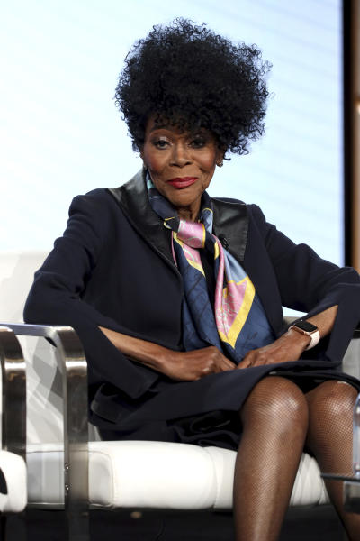 """CORRECTS DAY OF WEEK AND DATE - Cicely Tyson appears at the OWN: Oprah Winfrey Network's """"Cherish the Day"""" during the Discovery Network TCA 2020 Winter Press Tour at the Langham Huntington on Thursday, Jan. 16, 2020, in Pasadena, Calif. (Photo by Willy Sanjuan/Invision/AP)"""