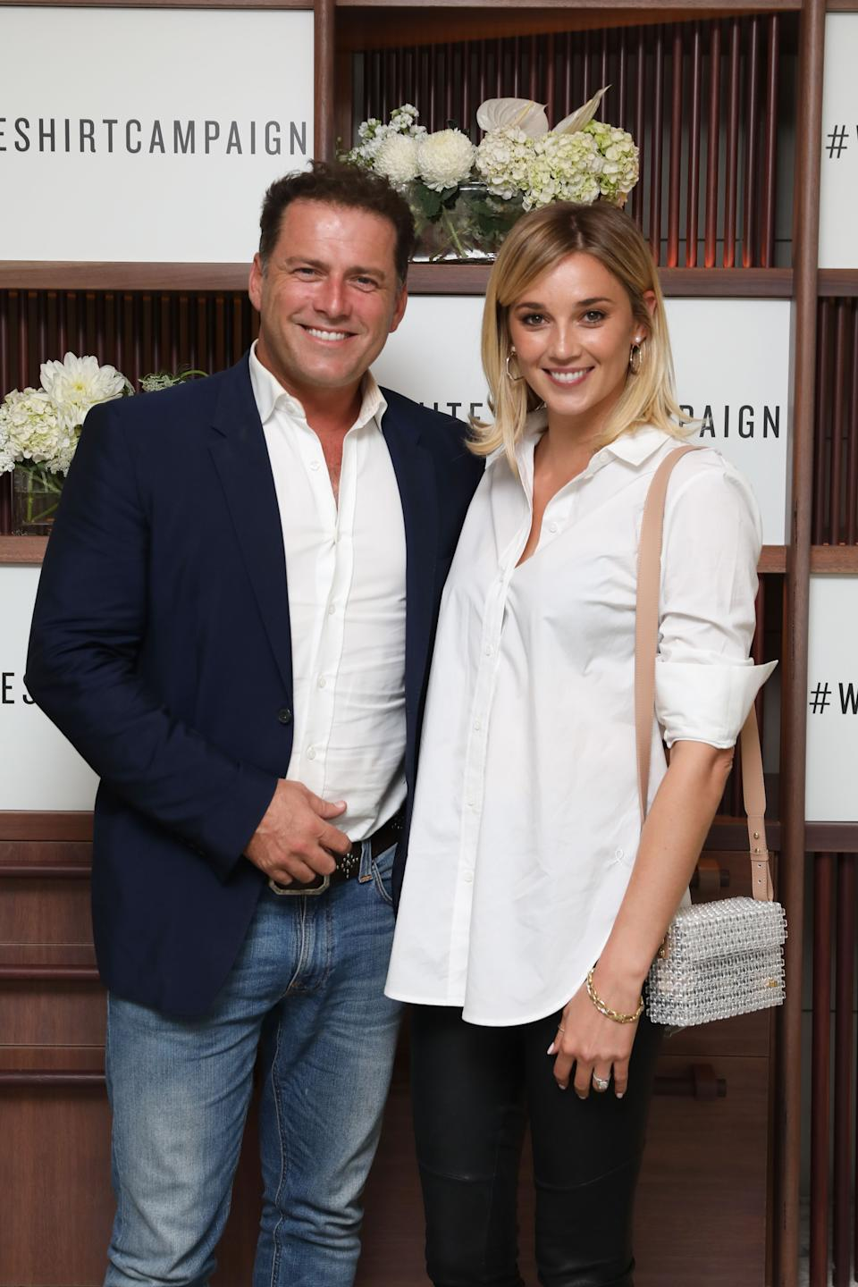 Karl Stefanovic and Jasmine Yarbrough attend the Witchery x OCRF White Shirt Campaign Launch on April 4, 2018