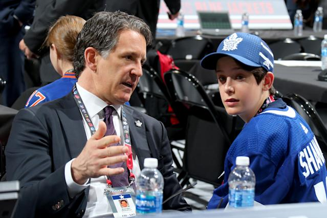 Brendan Shanahan and his son, Jack. (Photo by Bruce Bennett/Getty Images)