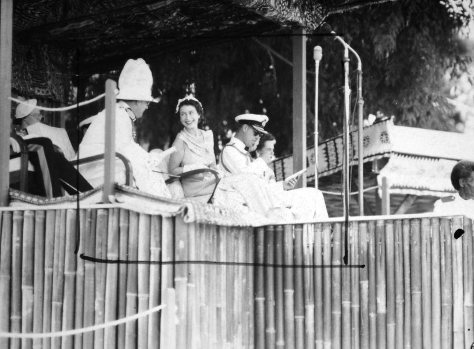 Queen Elizabeth and the Duke of Edinburgh in Albert Park, Suva, on their own royal tour in 1953