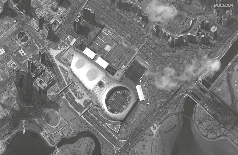 A satellite image appears to show Chinese military vehicles at Shenzhen Bay Sports Centre on the Hong Kong border.