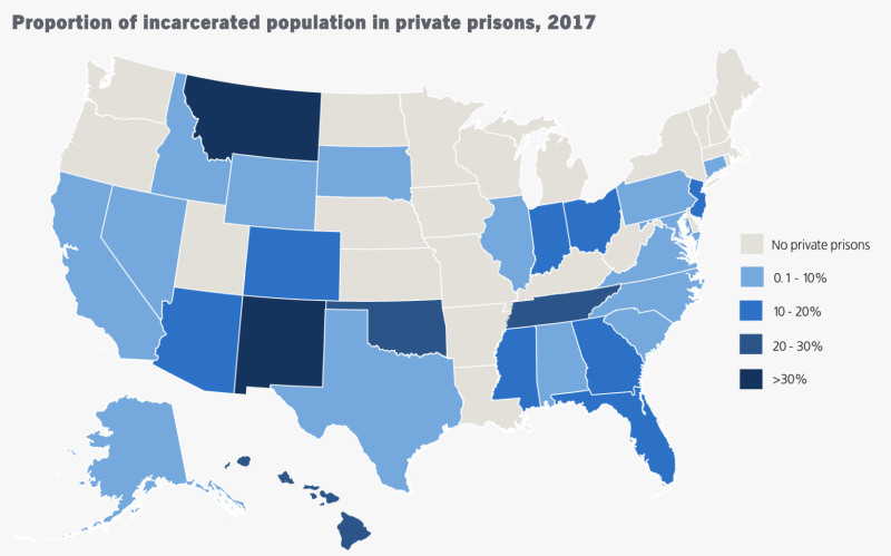 New Mexico and Montana have the highest shares of for-profit prisons. (Map: The Sentencing Project)