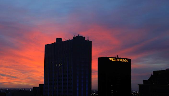 The sun rises behind a Wells Fargo building in El Paso, Texas (Lucas Jackson / Reuters file)