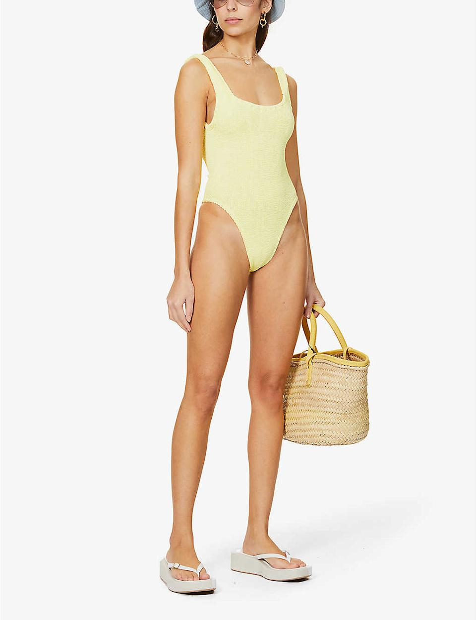 Hunza G Square Neck Metallic One Piece - Selfridges & Co.