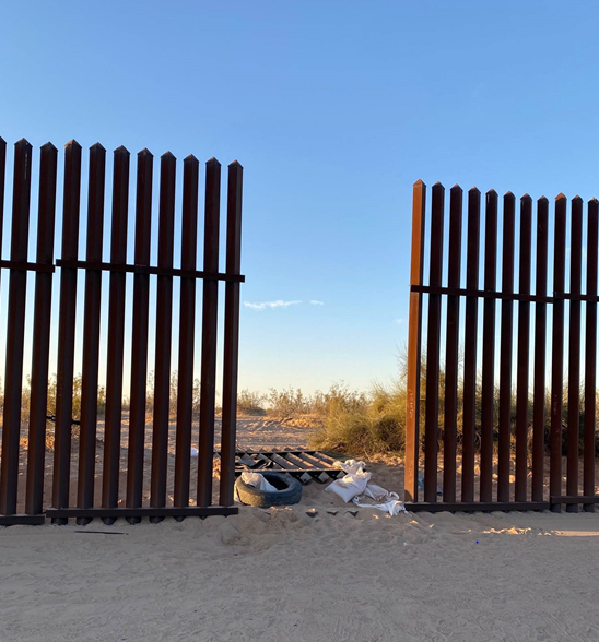 U.S. Customs and Border Protection agents reported a 10-foot breach in the International Boundary Fence between Mexico and the United States on March 2, 2021.