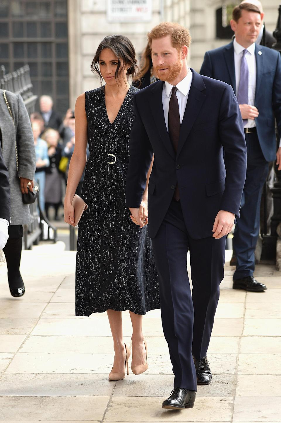 <p>Meghan chose a dress from Hugo Boss's Spring 2018 resort collection to attend a memorial service in London. </p>