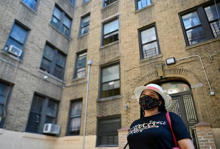 Yudy Ramirez, 46, who got laid off from her housekeeping job in March 2020, has not paid rent for July or August