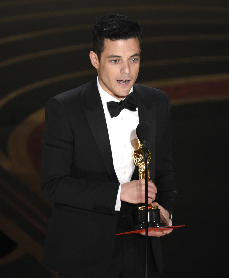 Rami Malek accepts the award for best performance by an actor in a leading role for Bohemian Rhapsody (Credit: Chris Pizzello/Invision/AP)