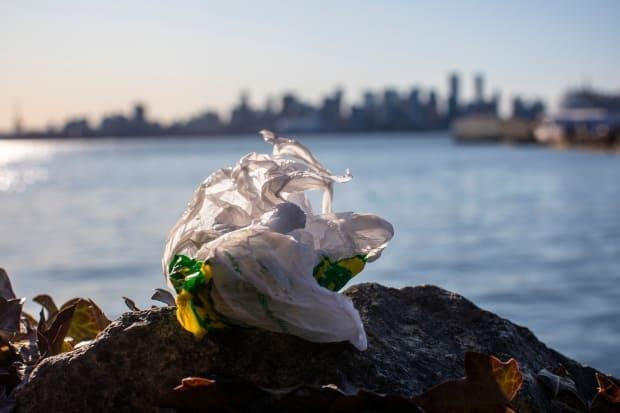 A discarded plastic bag is pictured with the Vancouver skyline in the background.