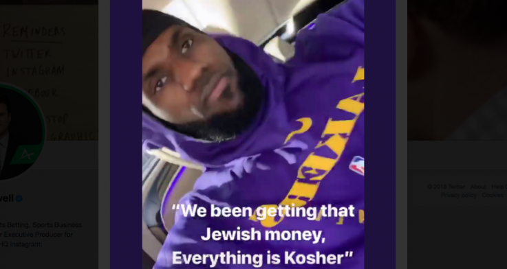LeBron James shared offensive song lyrics to his Instagram account over the weekend. (via Darren Rovell)