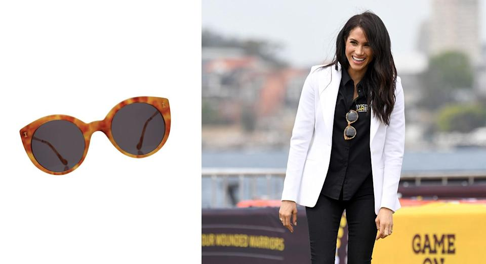 """<p>On October 20, Meghan made a stylish return to the Invictus Games in an Altuzarra blazer and Mother Denim jeans but it was her sunglasses which proved a hit on social media. The $240 (approximately £184) shades are from Illesteva and are sure to sell out so make sure to hurry… <a rel=""""nofollow noopener"""" href=""""https://illesteva.com/products/palm-beach-sunglasses-amber"""" target=""""_blank"""" data-ylk=""""slk:Shop now"""" class=""""link rapid-noclick-resp""""><strong>Shop now</strong></a>. <em>[Photo: Getty]</em> </p>"""