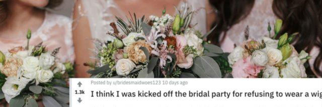 post of bridesmaid explaining how bride suggested she wear a wig