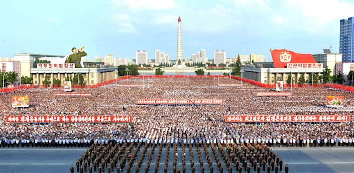 A general view shows a Pyongyang city mass rally.