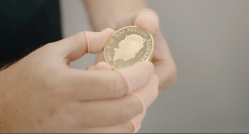 This rare gold coin will up for sale via auction. Image: Royal Mint