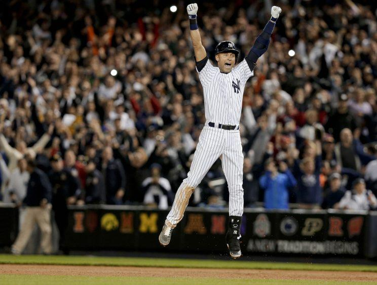 Derek Jeter had plenty of celebratory moments during his excellent career. (AP)