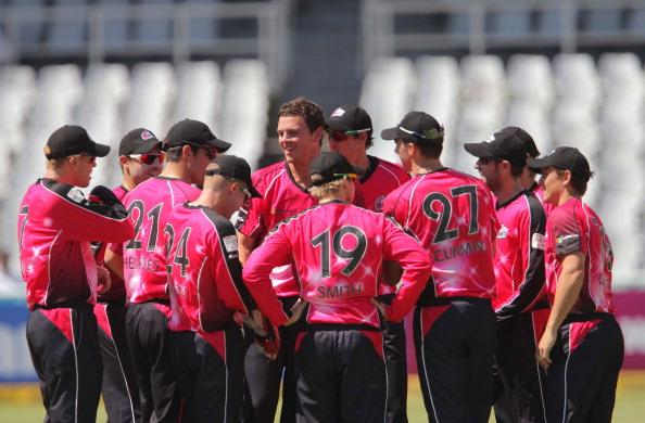 CAPE TOWN, SOUTH AFRCA - OCTOBER 16:  Sydney Sixers celebrate a wicket during the Champions League twenty20 match between Sydney Sixers (Australia) and Yorkshire (England) at Sahara Park Newlands on October 16, 2012 in Cape Town, South Africa. (Photo by Carl Fourie / Gallo Images/Getty Images)