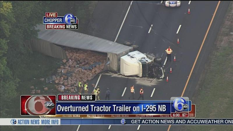 Tractor-trailer hauling apple juice crashes on I-295 in