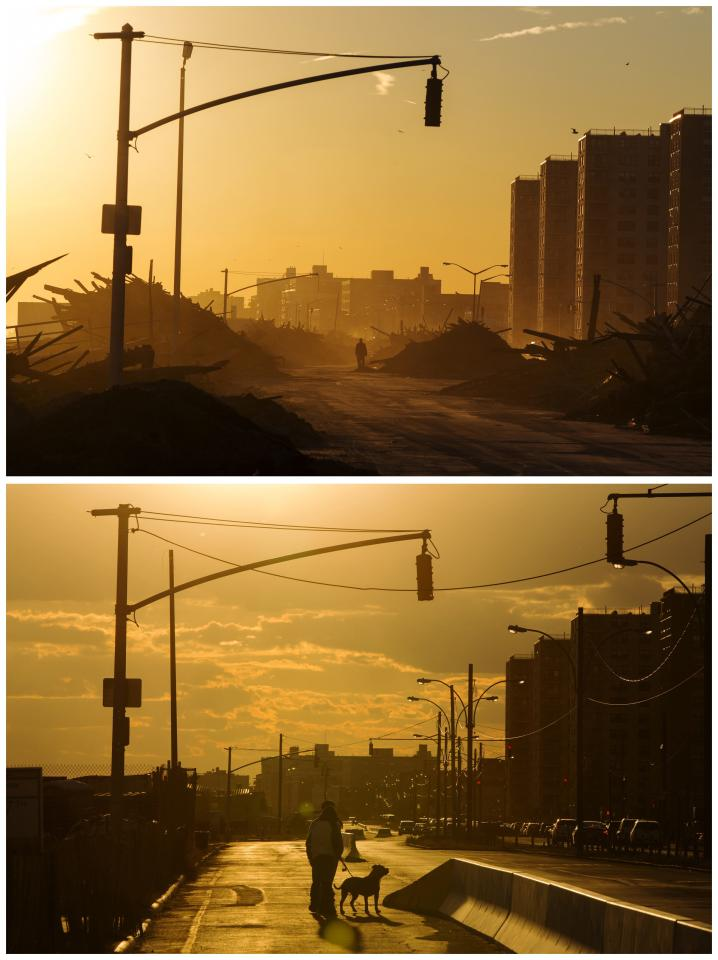 A combination photo shows a man walking down Shore Front Parkway surrounded by debris left by the storm surge of Superstorm Sandy on November 6, 2012 (top) and a recent view of the same road showing two men walking their dog in the Queens borough region of the Rockaways in New York on October 24, 2013 (bottom). The historic superstorm killed at least 159 people and damaged more than 650,000 homes when it made landfall on October 29, 2012, devastating parts of New York, New Jersey and several other states. TO MATCH ONE YEAR HURRICANE SANDY ANNIVERSARY BEFORE AFTER PACKAGE. REUTERS/Lucas Jackson (UNITED STATES - Tags: ANNIVERSARY DISASTER ENVIRONMENT)