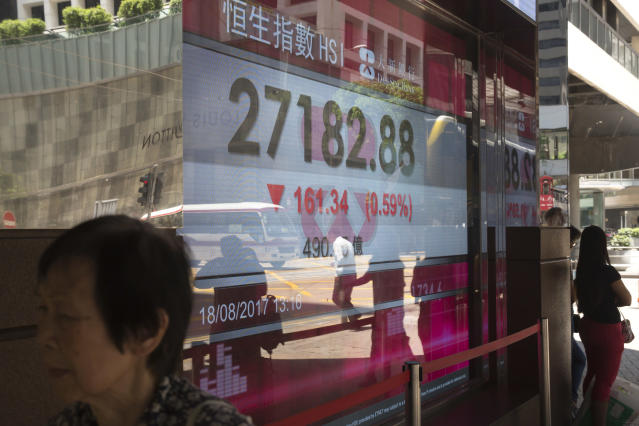A woman walks past an electronic stock board showing the Hang Seng Index in Hong Kong, Friday, Aug. 18, 2017. Asian stocks are sinking as big losses on Wall Street amid continuing U.S. political turmoil and a deadly van attack in Spain pressured global investor sentiment. (AP Photo/Kin Cheung)