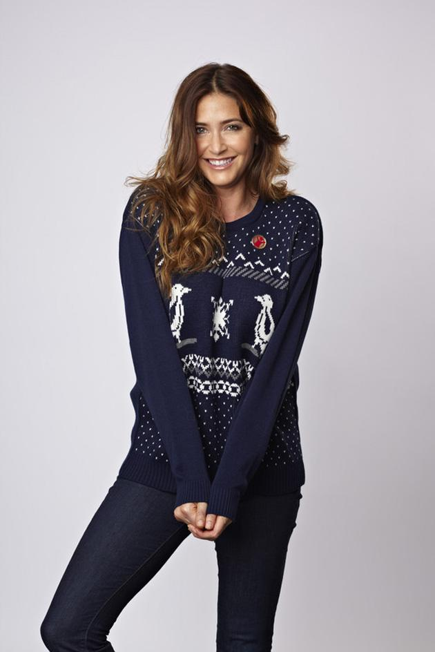 Lisa Snowdon teamed her festive jumper with a pair of jeans - a look we'll definitely be trying over the Christmas period. Copyright [PR image]