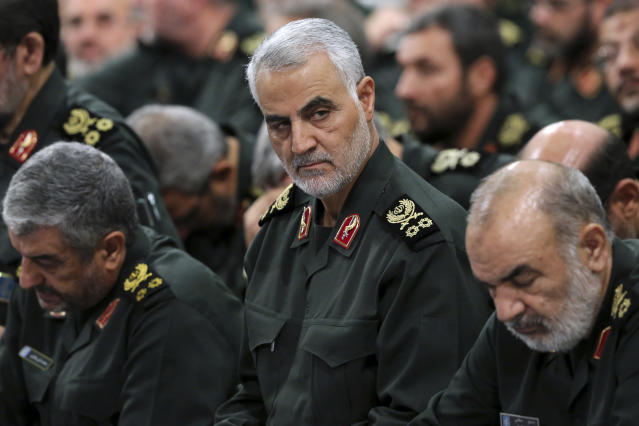Qassem Soleimani, center, pictured attending a meeting with Iran's Supreme Leader Ayatollah Ali Khamenei, was killed by a US airstrike. (Office of the Iranian Supreme Leader via AP)