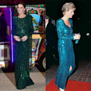 <p>Middleton wore a Jenny Packham, emerald green, sequinned dress for a reception hosted by the British High Commissioner to Pakistan whilst Diana wore a similarly-hued glittering dress to The Diamond Ball At The Royal Lancaster Hotel.</p>